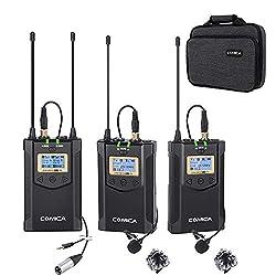 professional Comica CVM-WM100Plus Wireless Microphone 48 Channel Professional UHF Dual Wireless Lavalier…