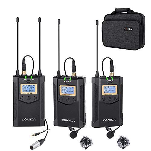 Wireless Microphone COMICA CVM-WM100 Plus 48-Channel Professional UHF Dual Wireless Lavalier Lapel Microphone System for Canon Nikon Sony Panasonic DSLR Cameras,XLR Camcorder,Smartphone etc.(2TX+1RX)