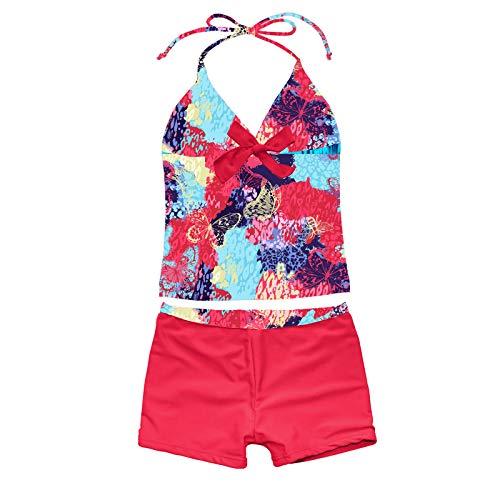 CHICTRY Mädchen Badeanzug Bademode Tankini Bikini Set Floral Neckholder Bikinioberteil Mir Rüsche Kinder Badebekleidung Gr. 92-176 Roter Schmetterling 122-128