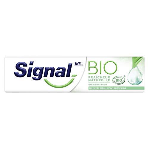 Signal Dentifrice Bio Fraîcheur Naturelle Arôme Menthe d'Origine Naturelle, Haleine Fraîche Durablement, Enrichie en Fluor, 75ml