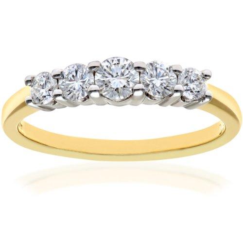 Naava Women's 18 ct Yellow Gold 5 stone Eternity Ring, IJ/I Certified Diamonds, Round Brilliant, 0.50ct, Yellow Gold, M