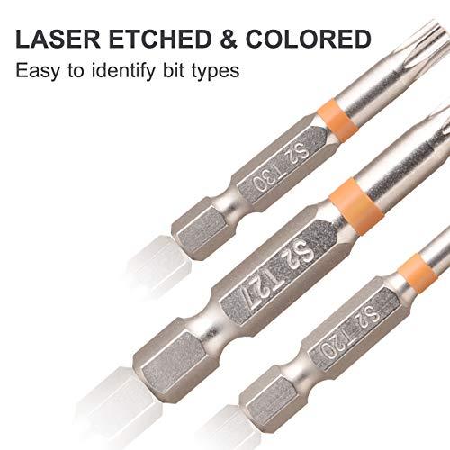 Lifechaser 18PCS S2 Steel Torx Screwdriver Bit Set 2inch Impact Driver Bit Set, Impact Rated, 1/4