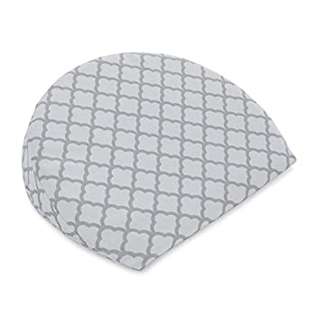Boppy Pregnancy Wedge Scallop Trellis Gray and White Maternity Wedge with removable jersey cover