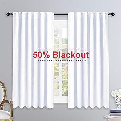 NICETOWM Window Treatment Curtain Panels - (White Color) W52 x L54, 2 Pieces, Semi Blackout Window Treatment Drape Panel for Kids Bedroom