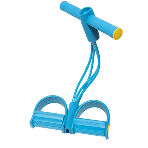 Pinkdeer 4-Tube Foot Pedal Resistance Band Sit-up Pull Rope Puller Home Yoga Elastic Fitness Equipment (Blue, ONE Size)