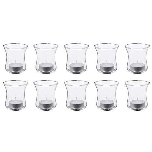 Dio only for you 10716 Windlicht, Kerzenhalteraufsatz aus Glas, für Teelichter, 8 cm, klar (10 Stück)