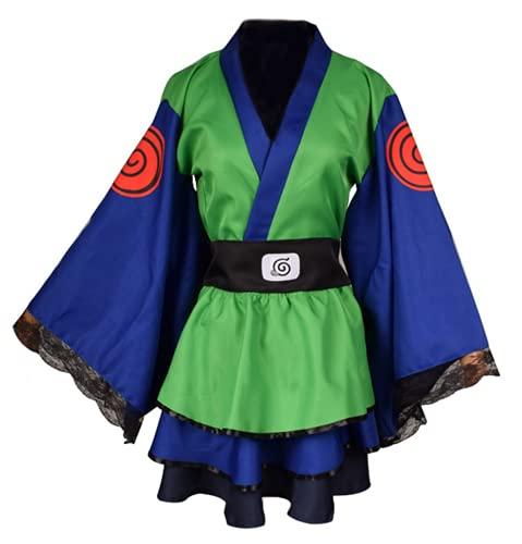 YEAJION Naruto Disfraz Ropa Chico Kimono Vestido Elegante Mujer Kimono Top + Falda + cinturón 3 Piezas Conjunto Halloween Carnaval Fiesta Ropa