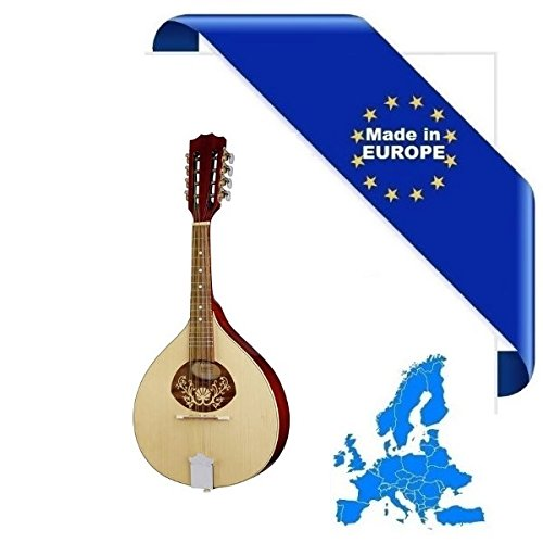 MANDOLINO PORTOGHESE 1 MADE IN EUROPE IN MASSELLO TOP ABETE E ACERO FONDO FASCE MANICO SCALA 332mm
