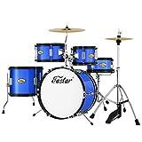 Eastar 16 inch Junior Drum Set Kids Drum Set 5-Piece with Adjustable Throne and Cymbal, Pedal & Drumsticks, Metallic...