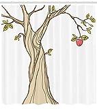 LUODAN Hochzeitsgeschenk Tianshu Adams Apfel Dekorativer wasserdichter Duschvorhang mit HD-Druck, geeignet für Badezimmer, 12 freie Haken, 180x180 cm