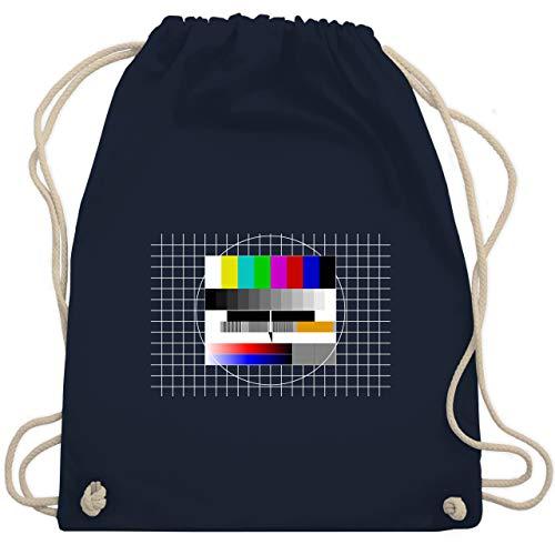 Shirtracer Karneval & Fasching - Fernseher TV Testbild - Unisize - Navy Blau - WM110_Stoffbeutel - WM110 - Turnbeutel und Stoffbeutel aus Baumwolle