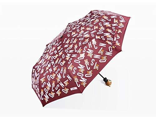 JIAJBG Linda Cabeza de Oso Paraguas Paraguas Infantil Lleno-Automático Tres Plegables Fresco Encantador Estilo Elegante Paraguas Paraguas-30-Negro Fácil de cargar / 2
