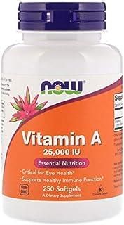 فيتامين أ ، 25,000 وحدة ، 250 كبسولة هلامية ، من شركة Now Foods