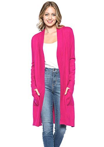 Urban Look Women's Long Sleeve Classic Open Front Knit Long Cardigan (Medium, Hot Pink)