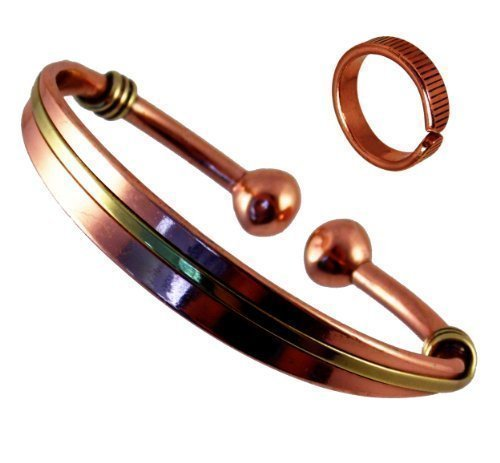 Magnetic Copper & Brass Torque Bracelet for Men and Women and Etched-on Lines Magnetic Copper Ring Combi Gift Set (LARGE RING SIZE: 22 -25mm)