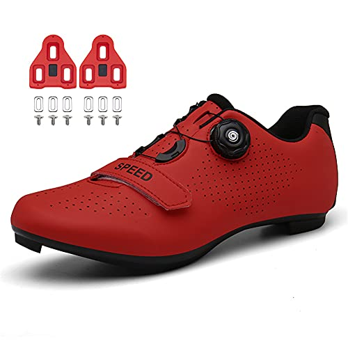 Cycling Shoes for Mens Womens Indoor Peloton Road Bike Shoes Included Cleats Clip Compatable Look Delta and SPD Lock Pedal Red 285