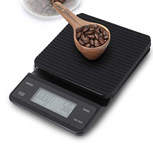Báscula de café con temporizador para verter, 3 kg/0,1 g LCD electrónica Báscula digital para alimentos Pesaje de café por goteo, Báscula de café expreso con almohadilla de silicona