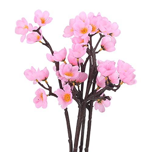 DWANCE 6PCS Flores Artificiales Flor de melocotón Rosa Seda Flores de Cerezo Ramas Flores de Primavera Arreglos Florales Falsos para Interior y Exterior Decoración de Bodas