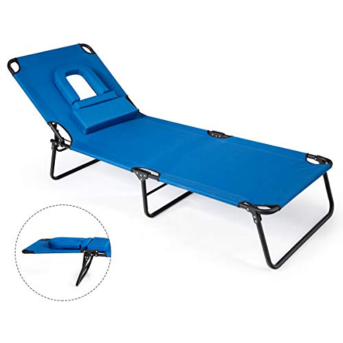GYMAX Beach Lounge Chair, Sunbathing Chair Patio Lounge Chair Folding Adjustable Recliner with Hole for Face