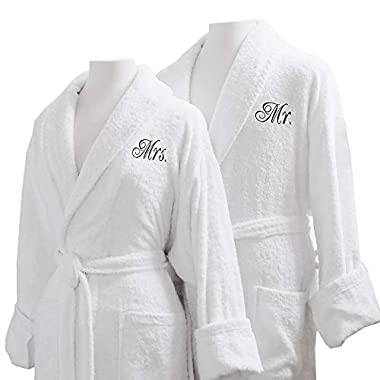 Caravalli Egyptian Cotton Bath Robes, Terry Spa Robe Gift Box Mr/Mrs Embroidery