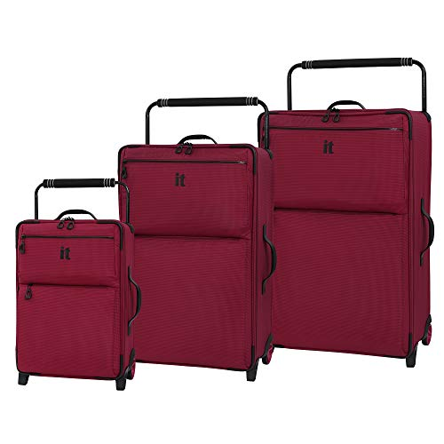 it luggage World's Lightest Los Angeles Softside Upright, Persian Red, 3-Piece Set (22/29/32)