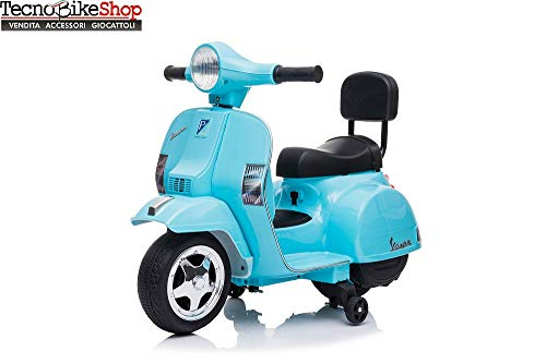 Tecnobike Shop Moto Scooter Elettrico per Bambini Piaggio Vespa Mini PX 6V - Luci Suoni (Acqua)