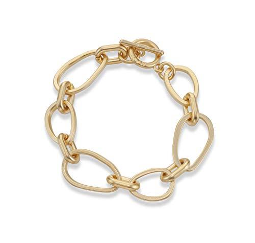 NIEVOS JEWELRY Pulsera chapada en oro atemporal, chapada en oro de 24 quilates, pulsera de eslabones amorfos, delicada y de moda, joyería de regalo para ella, hecha a mano por mujeres