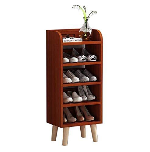 Gabinete organizador de almacenamiento de zapatero Zapatero for zapatos de 5 capas de color teca Gabinete for zapatos multifunción for el hogar 40 * 99 * 29 cm Montaje fácil Muebles modernos simples Z