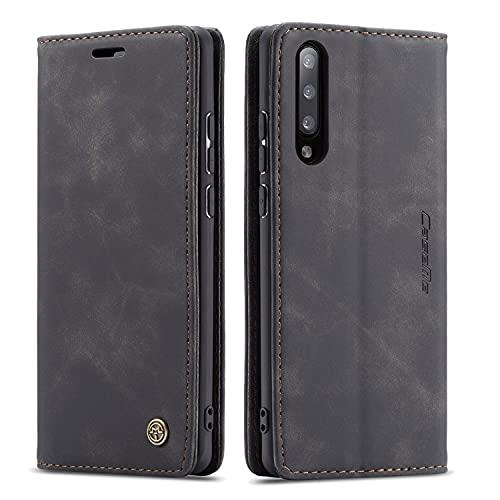 QLTYPRI Hülle für Samsung Galaxy A70, Vintage Dünne Handyhülle mit Kartenfach Geld Slot Ständer PU Ledertasche TPU Bumper Wallet Hülle Flip Schutzhülle für Samsung Galaxy A70 - Schwarz