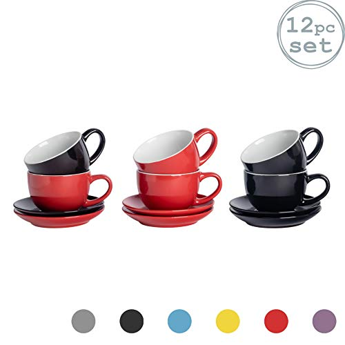 Argon Tableware 12 Stück Farbige Cappuccino Tasse und Untertasse Set - Modern Style Porzellan-Tee-und Kaffeetassen - rot + schwarz - 250 ml