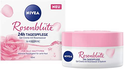 NIVEA Rosenblüte 24h Tagespflege (50 ml), Gesichtspflege mit Rosenwasser und Hyaluron, leichte Gel-Creme für geschmeidig zarte Haut