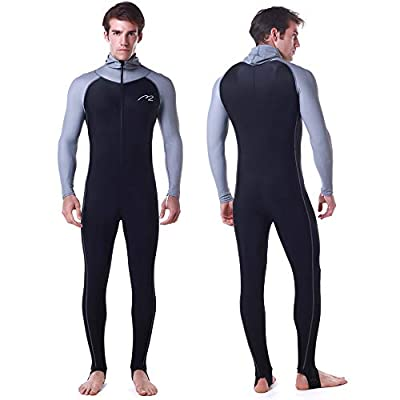 Wetsuit Full Suits for Women or Mens Modest Full Body Diving Suit & Breathable Sports Skins for Running Snorkeling Swimming 1009 (016-man-black, L)