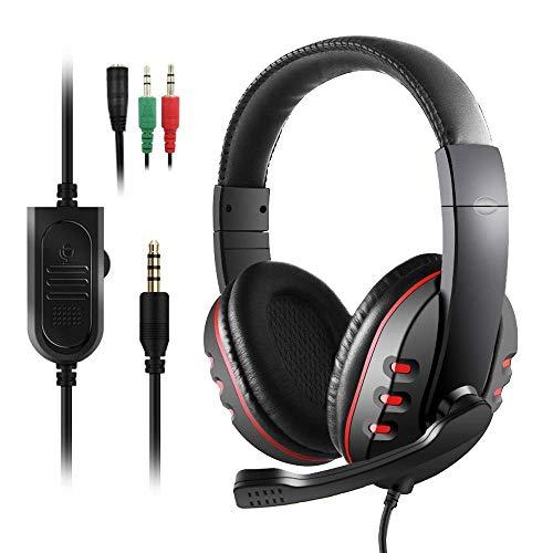 Diswoe PS4 Headset, 3.5mm Noise Cancelling Gaming Kopfhörer mit Surround Sound, 40MM Treiber und Mikrofon, Gaming Headset für PC Xbox One Nintendo Switch/Switch Lite Laptop Mac Handy Tablet