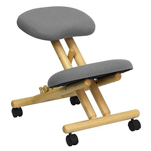 Lancaster Home Mobile Wooden Ergonomic Kneeling Office Chair in Gray Fabric