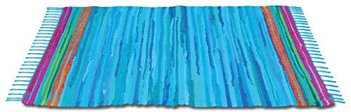 Bestlivings Flickenteppich 120 x 180 cm aus handgewebter Baumwolle in Blau - Dunkelblau, viele Variationen