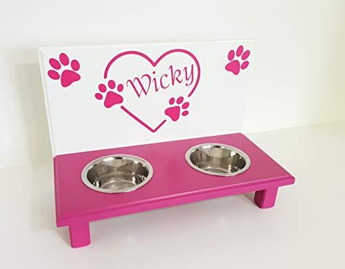 Jennys Tiershop Futterbar. Gestalten mit Wunschnamen und Deko. Napfbar für kleine Hunde. Hundenapf. Futterbar Hunde in weiß/pink 2 x 750 ml Hundebar (74hu)