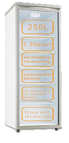 PKM Flaschenkühlschrank 250L, 5 Ebenen, wechselbarer Türanschlag, LED Beleuchtung, GKS1000, Grau mit weißen Seitenteilen