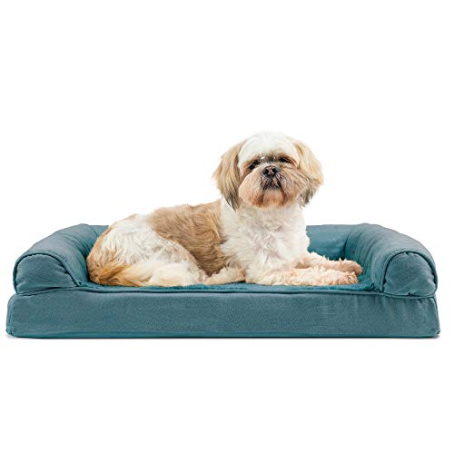 Furhaven Pet Dog Bed – Orthopedic Ultra Plush Faux Fur and Suede Traditional Sofa-Style Living Room Couch Pet Bed with Removable Cover for Dogs and Cats, Deep Pool, Medium