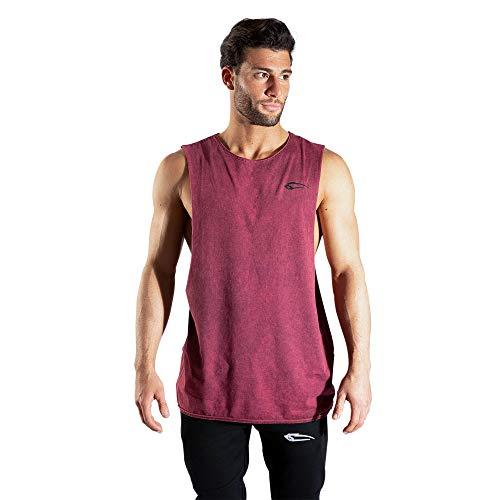 SMILODOX Herren Tanktop Matrix | Casual Top | Klassisches Design | Top für Sport Fitness Gym & Training | Tanktop mit Logo | Kurzarm |, Größe:S, Farbe:Bordeaux
