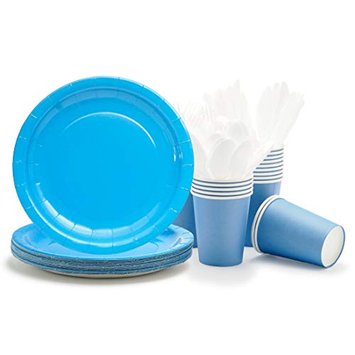 Party Paper Plates, Cups, Flatware, 120-Piece Disposable Dinnerware Set, Blue, Includes 9-Inch Dinner Plates, 9oz Cups, Knives, Forks, and Spoons, Serves 24…