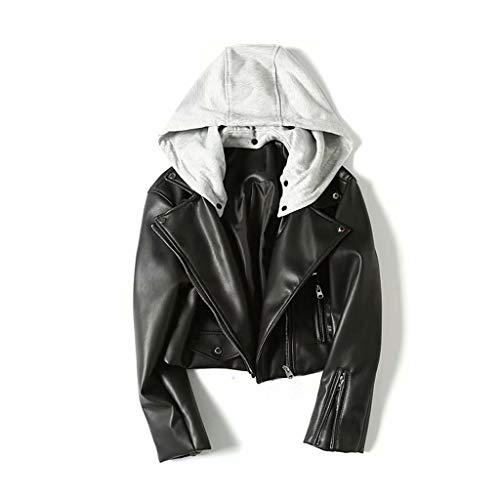 DOLDOA weibliche Jacke Frühjahr Neue Kurze Jacke Frauen Motorrad Leder Reißverschluss Lederjacke PU Lederbekleidung