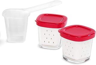 Tefal 6 pots en verre 140 ml, Compatibles avec les yaourtières Délices et Multi Délices, Couvercle hermétique en plastique rouge, Yaourts, Flans maison, Crèmes brûlées, Desserts crémeux XF100501