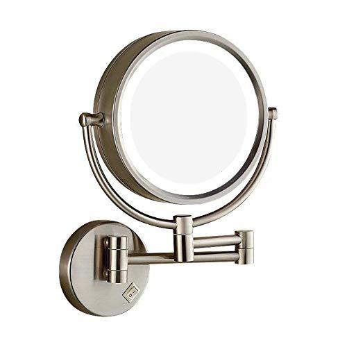 Bath Loupe allumée fixée au Mur de miroirs de Maquillage, Double Face a mené des miroirs de Rasage pour la Douche, 3X Nickel balayé,Concealed Wiring_8inch