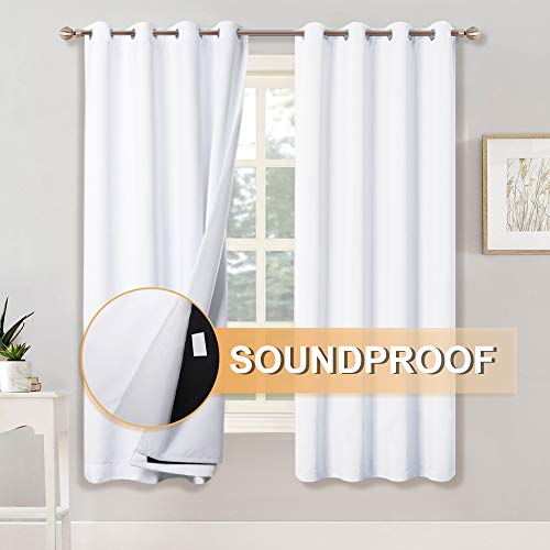 RYB HOME Full Blackout Curtains with Felt Fabric Liner for Sound Insulation, 3 Layers for 100% Light...