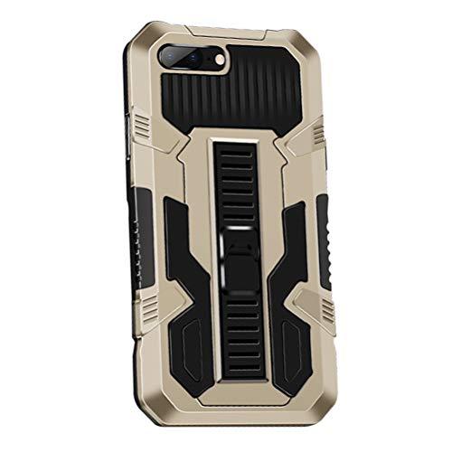 MOONCASE Funda para iPhone 7 Plus/8 Plus 5.5', Estuche Protectora Resistente y Delgada a Prueba de Golpes con Soporte [Grado Militar] Carcasa Protectora de Doble Capa Caso -Gold