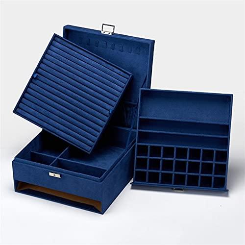 Caja de almacenamiento de joyería exquisita y dura Capacidad de gran capacidad Organizador de joyería de 3 capas Pendientes Anillos Clasificación de almacenamiento con Lock Mujeres Chicas Mejor regalo