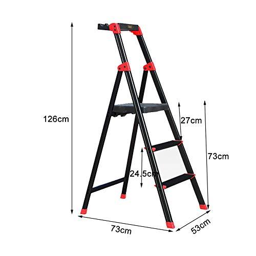 Ladder huishoudtrapladder voor volwassenen, zwarte 3-traps ladder voor keuken / badkamer / garage, draagvermogen 330 pond breed, antislip