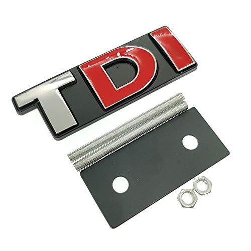 Auto Styling Rot Solid TDI Logo Frontgrill Kühlergrill Abzeichen Aufkleber für Golf PASSAT MK4 MK5 MK6 Skoda Sitz Autozubehör, silber T rot DI