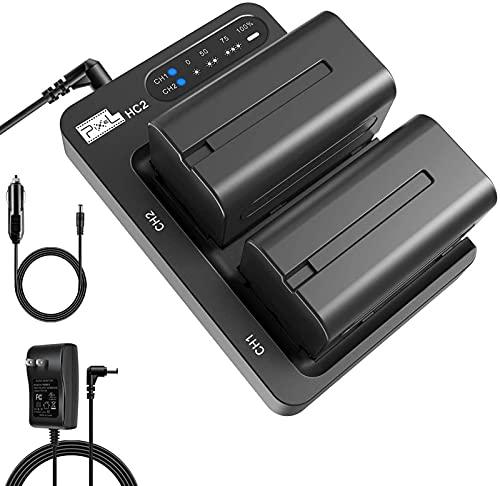 Pixel NP-F750 Kamera Akku, 2 Pack 5600mAh Batterie Ladegerät Set mit DC Adapter Auto-ladekabel für Sony NP F970, F750, F770, F960, F550, F530, F330, F570, CCD-SC55, TR516,TR716,TR818,TR910,TR917 usw
