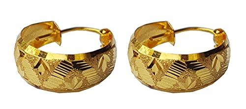 Sólido puro de 18 quilates 18 quilates amarillo oro fino tallado del diseño del aro de la flor de Altura-1.5cm Ancho-el 1.3CM para las mujeres, las niñas, niños, para hombre Bali